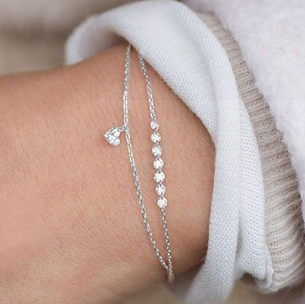 Gold Plated Silver Chain with Rhinestone Wedding Bracelet for Girl Jewelry YOOE Exquisite Double Crystal Heart-Shaped Bracelet