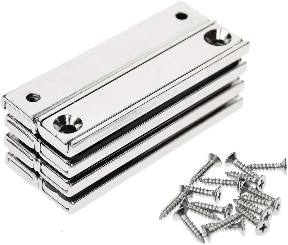 Stritra - 8pcs Strong Neodymium Rectangular Bar Pot Magnets with Counter Countersunk Hole Matching Strikers and Mounting Screws Tools Holder, Straighten Out Cabinet Closet Door