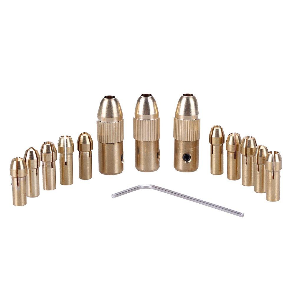 Demiawaking 14pcs Laiton Collet Chuck Set, 10pcs 0,5–3,2mm Pinces + 3pcs SD Mandrin + Clé Allen Petite perceuse électrique Pinces de Dremel outils rotatifs 10pcs 0 5-3