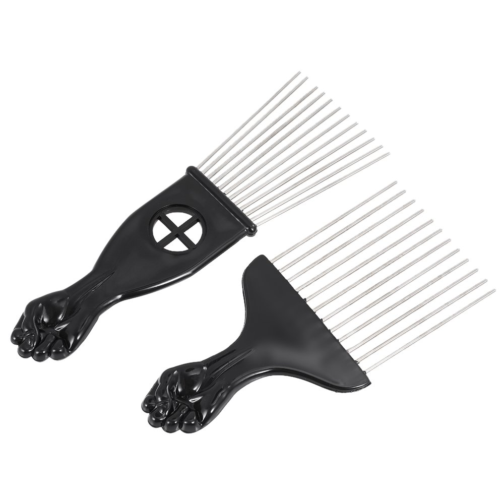 Anself 3Pcs Hair Combs African American Pick Comb Hair Brush Hairdressing Styling Tool Black Fist W4956-HMMFBA