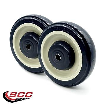 c99d31c67e6b 5 Inch Polyurethane Shopping Cart Wheels with Thread Guard Set of 2