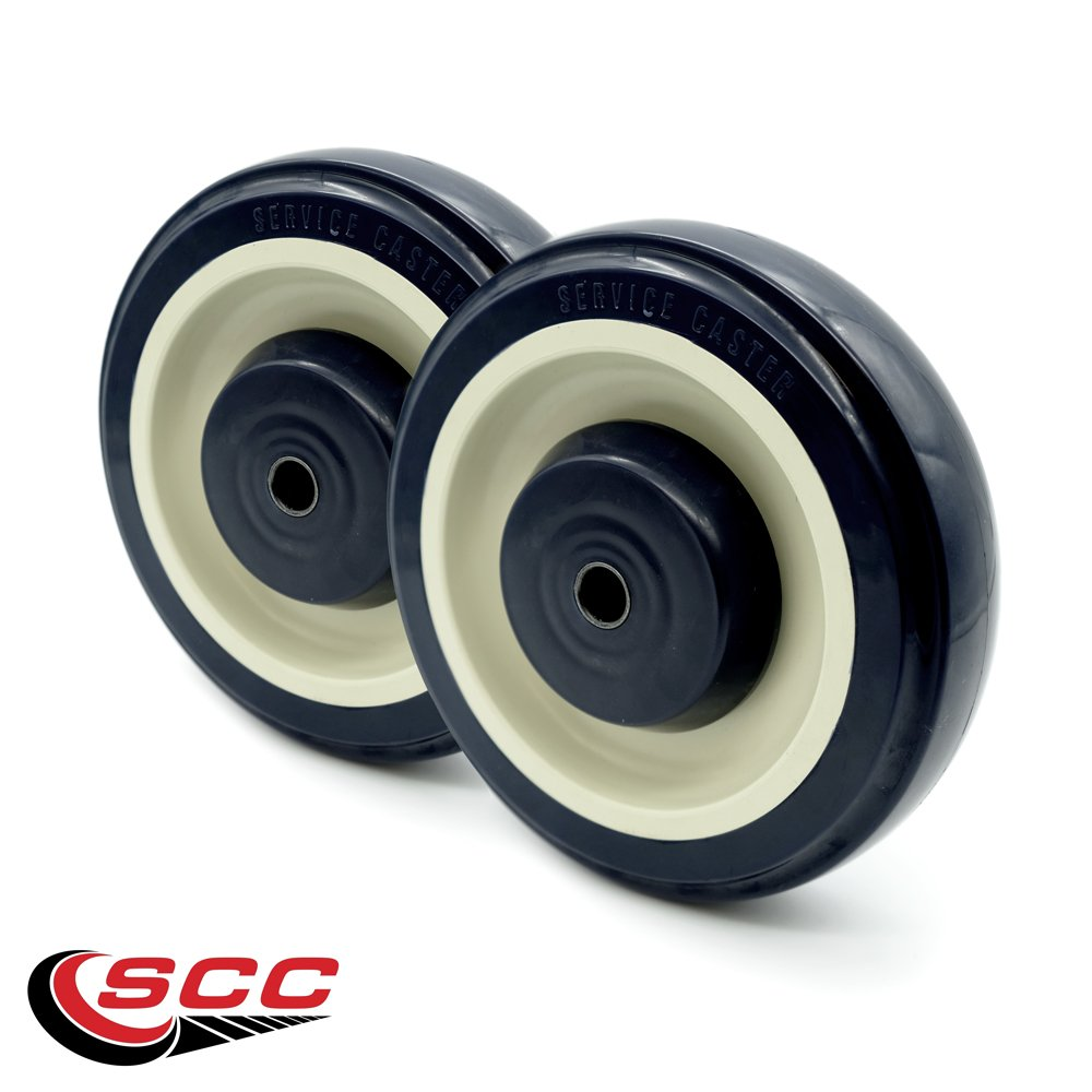 Shopping Cart Wheels Set of 2-5'' x 1.25'' Polyurethane with 5/16 Bore - 500 lbs. Total Capacity/Set - Service Caster Brand
