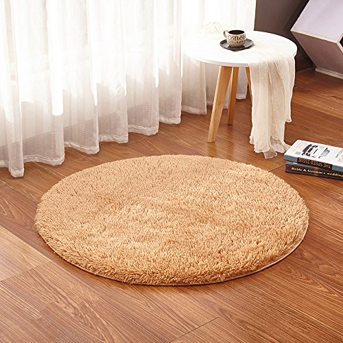 Round Area Rugs Solid Color Super Soft Living Room Bedroom Home Shaggy Carpet Multi-Color Multi-Size (Diameter:3.94ft(47.24inch), Khaki)