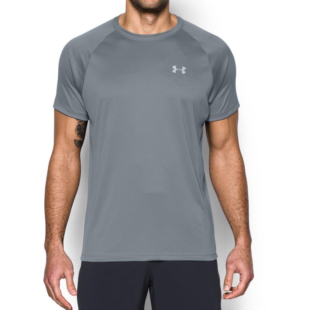 Under Armour Men's HeatGear Run Short Sleeve T-Shirt, Steel /Reflective, Large