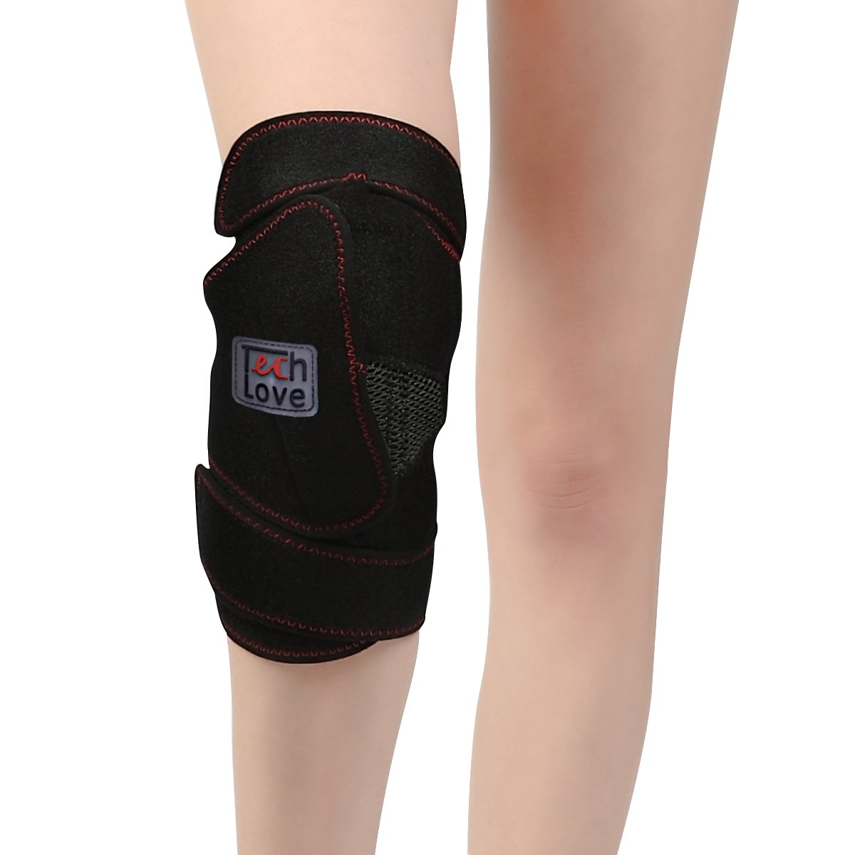 Heated Knee Brace Heat Therapy Patella Wrap by Techlove with Moxa Bag for Men and Women Relieve ACL, MCL, PCL, Meniscus Tear, Arthritis and Tendonitis Pain (Black)