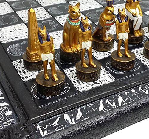 Egyptian Chess - 16 Egyptian Chess Set with Black & White Hieroglyphics Egypt Board by HPL