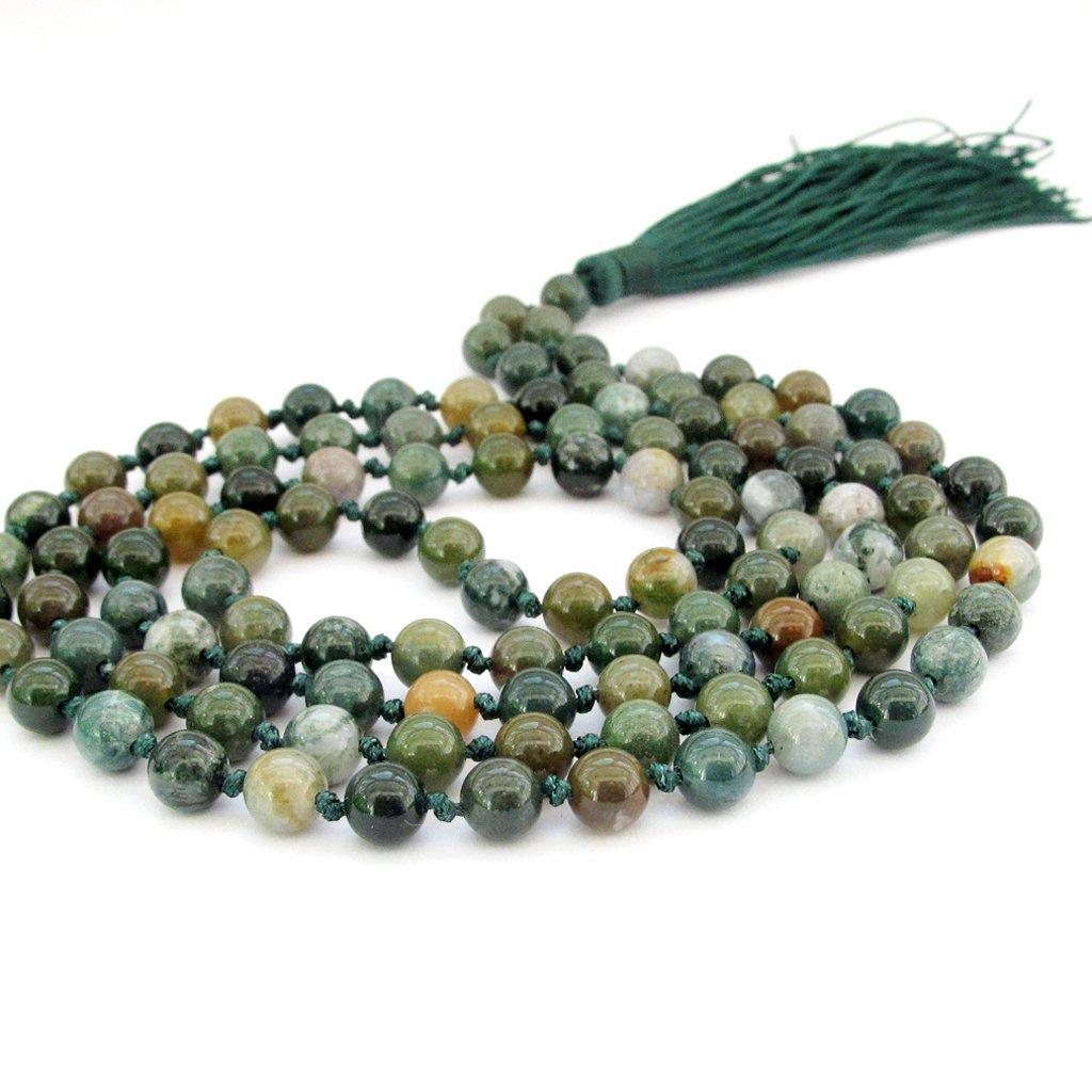 OVALBUY Hand Knotted Heat Treated Agate 6mm 108 Beads Buddhist Prayer Japa Mala for Meditation ZZ295