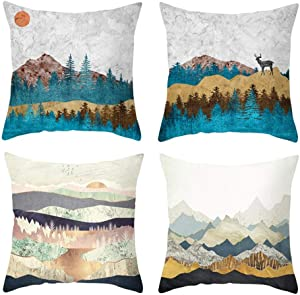 QINU KEONU Set of 4 Flannel Soft and Comfortable Simple Geometry Modern Decoration Mountains Throw Pillow Case Cushion Cover Home Sofa Decorative 18 X 18 Inch (10)