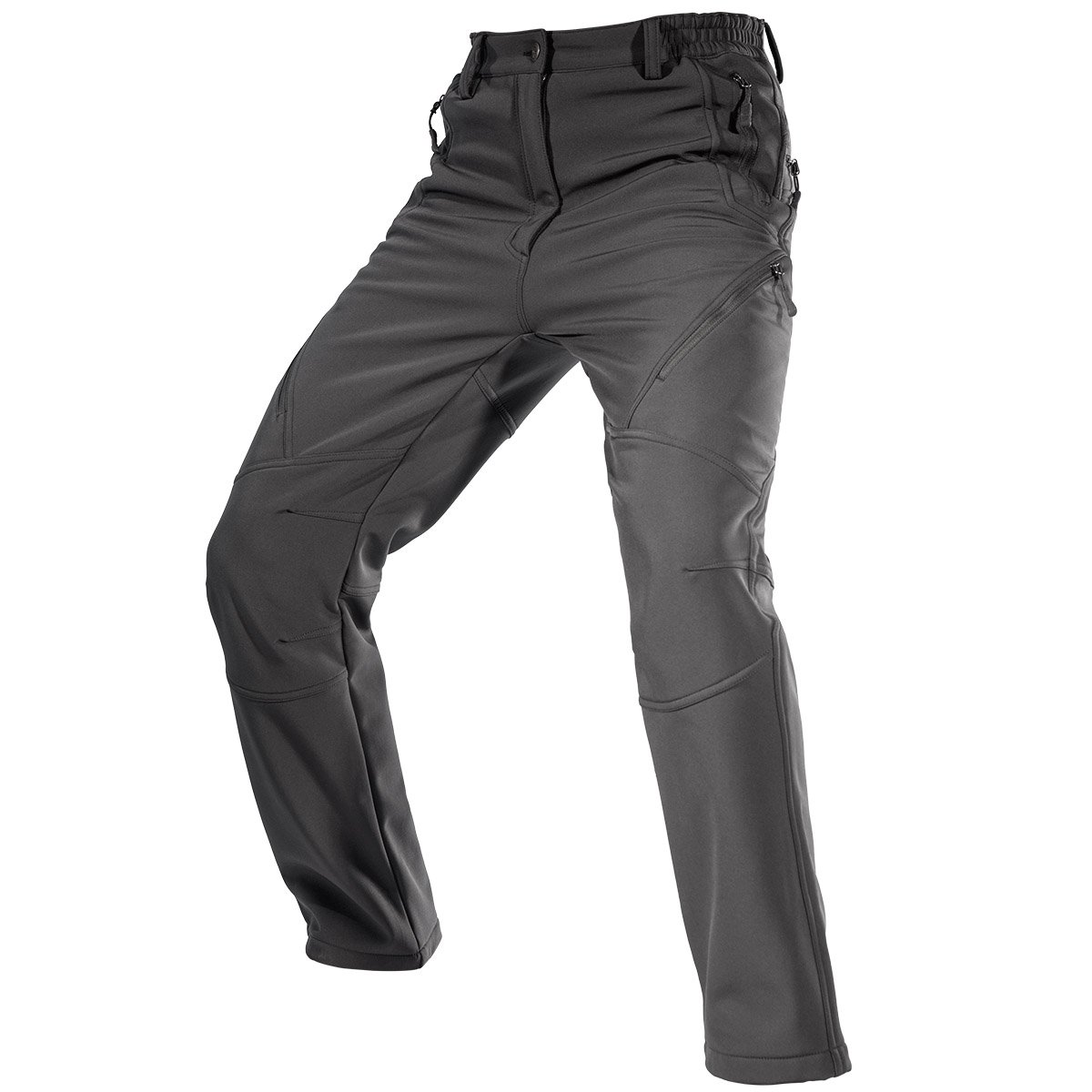 FREE SOLDIER Men's Fleece Lined Water Repellent Softshell Snow Ski Pants with Zipper Pockets F & S Co. Ltd
