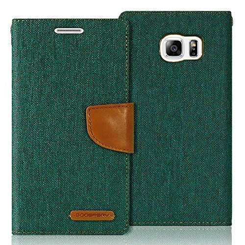 (Galaxy S6 Edge Case, [Drop Protection] GOOSPERY Canvas Diary [Denim Material] Wallet Case [ID Credit Card and Cash Slots] with Stand Flip Cover for Samsung Galaxy S6 Edge (Green) S6E-CAN-GRN)