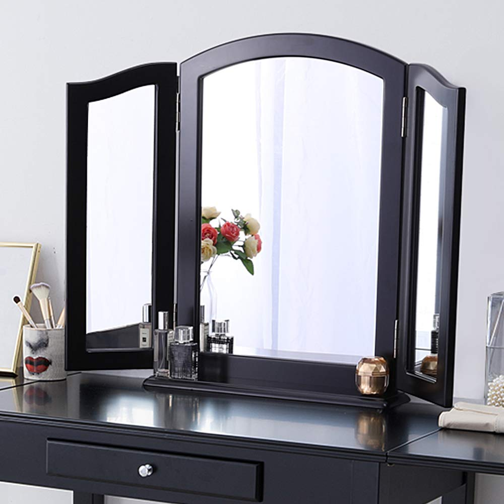 Chende Trifold Mirror with Detachable Wood Base, 3 Way Mirror for Vanity Table Set, Large Haircut Mirror in Bathroom Bedroom, Tabletop or Wall Mounted (Black)