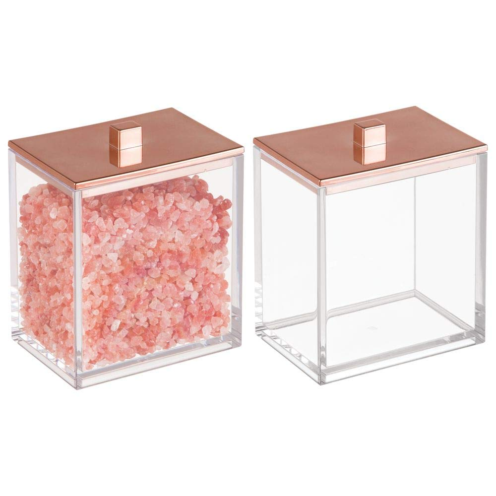 mDesign Bathroom Storage Canister for Cotton Swabs, Bath Salts, Cotton Balls - Clear/Rose Gold, pack of 2