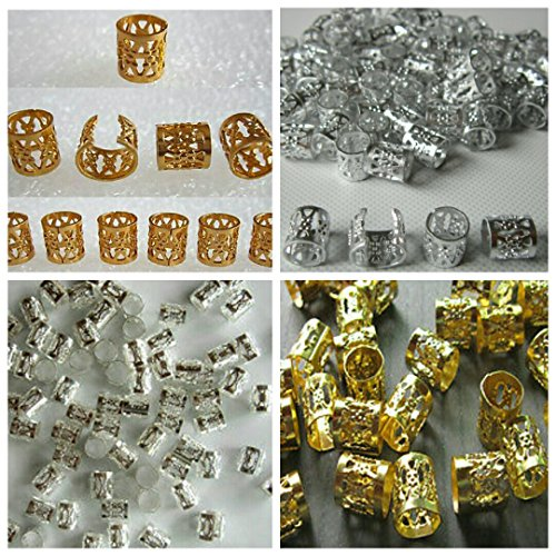 Mixed Dread Lock Dreadlocks Gold and Silver Plated Beads Metal Cuffs Hair Decoration Filigree Tube 20 Pcs -