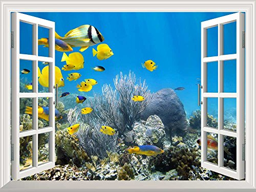 Wall26 Removable Wall Sticker / Wall Mural - Underwater Coral Reef Scenery with Colorful School of Fish | Creative Window View Home Decor / Wall Decor - 24