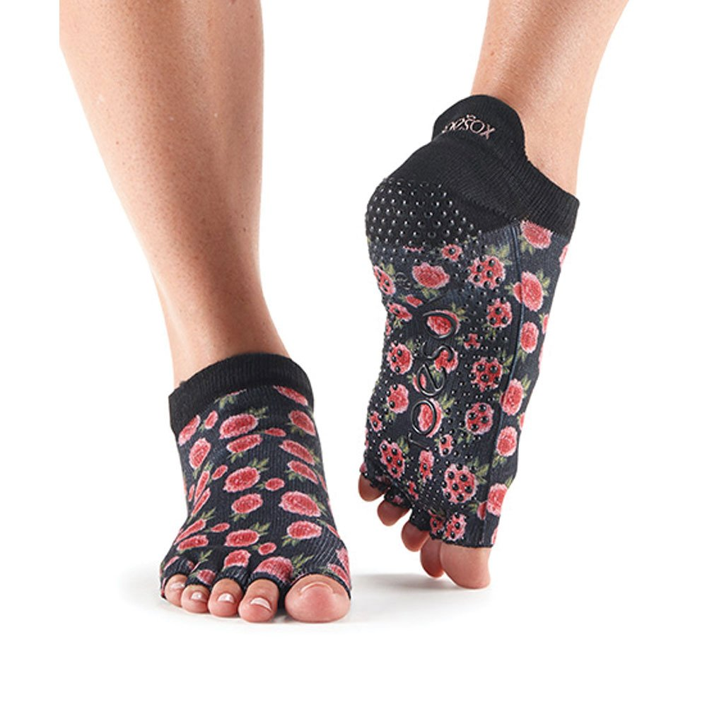 Toesox Half Toe Low Rise Grip Socken für Yoga, Pilates, Fitness rutschfeste Skid Socken - 1 Paar (Medium, Rosie)