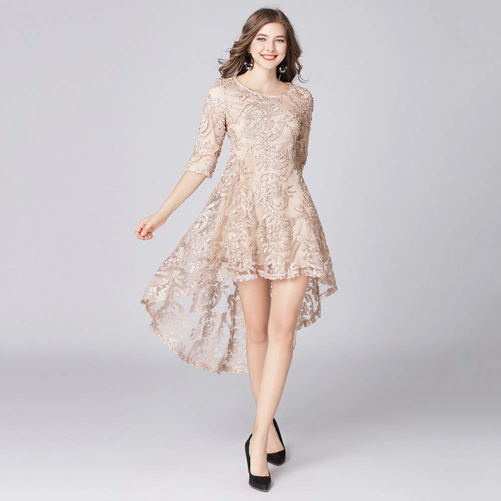 Women's Floral Lace Asymmetrical Hem Cocktail Party Swing Dress (Size   XL)