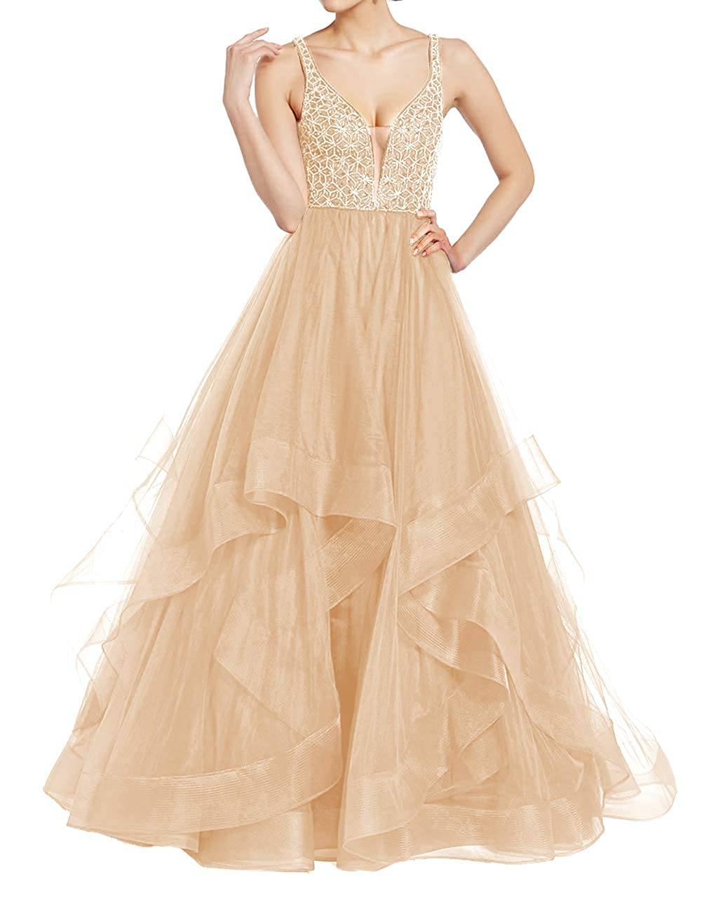 Champagne Uther Elegant Tulle Evening Ball Gowns Long Beaded Formal Prom Party Dresses