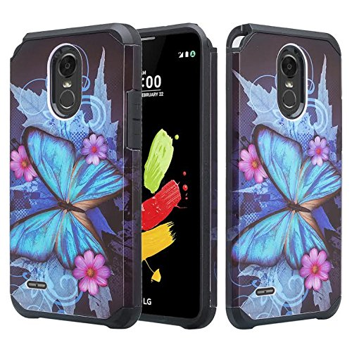 LG Stylo 3 Case, LG Stylo 3 Plus Case [Shockproof] Hybrid Drop Protection Dual Layer Defender Protective Case Cover for Stylo 3/Stylo3 Plus, Blue Butterfly