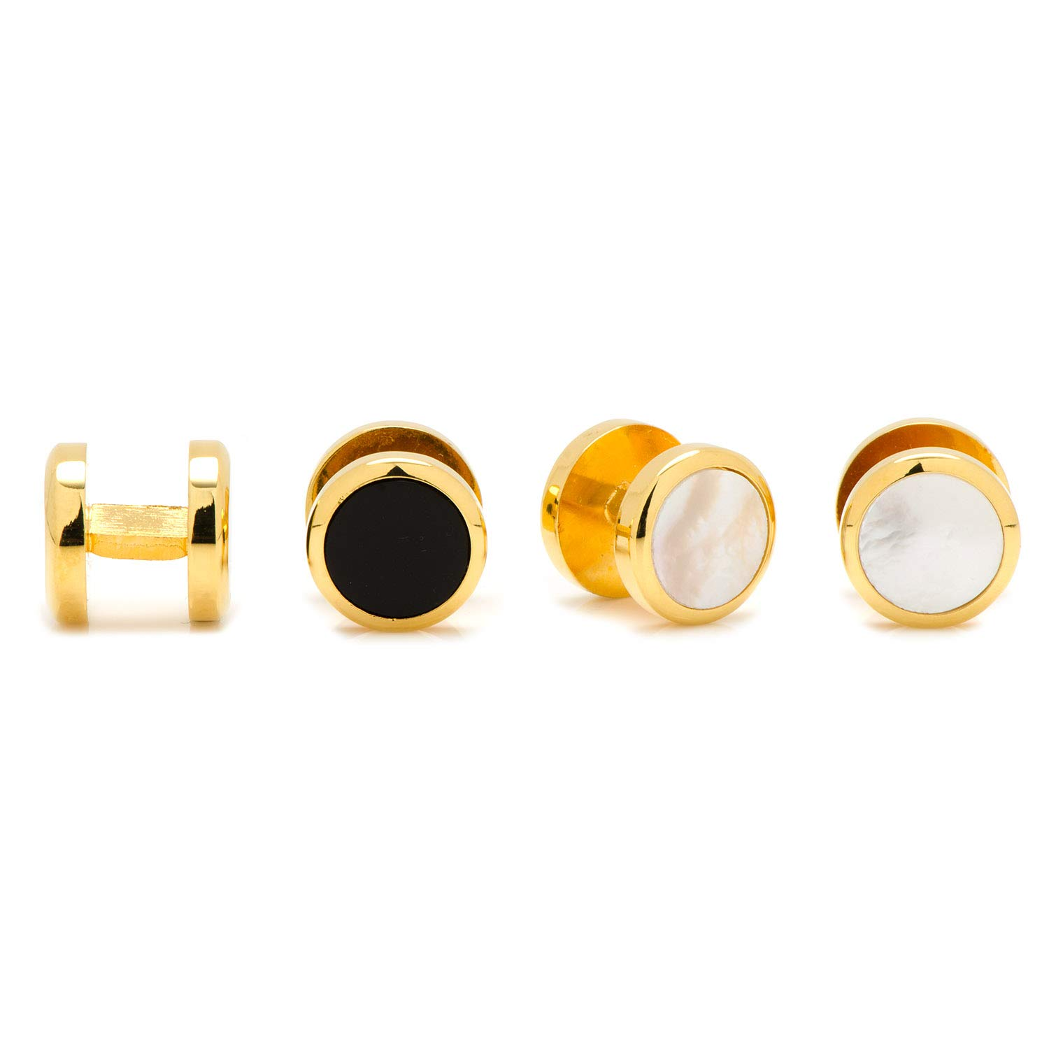 Ox and Bull Trading Co. Double Sided Gold Onyx and Mother of Pearl Round Studs BL-DSRND-GL-ST