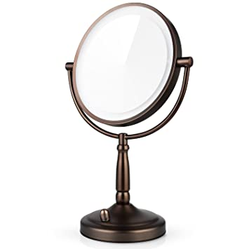Miusco 7X Lighted Magnifying Double Side Cosmetic Makeup Mirror, Battery  and AC Adapter Operated,