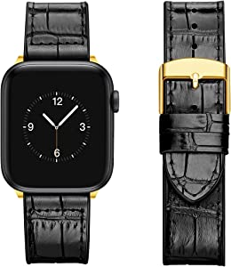 Ayotu Soft Leather Bands Compatible with Apple Watch Band 42mm 44mm, Sweatproof Alligator Grain and Soft Inner Silicone Replacement Band for iWatch Series 6 5 4 3 2 1,SE(Black/Golden, 42mm/44mm)