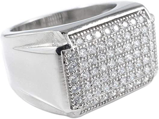 18K White//Yellow Gold Plated 3 Row Simulated Diamond Ring Stainless Steel Hip Hop Jewelry Iced Cubic Zirconia Rings NIVS BLING