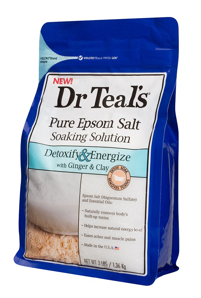 Dr Teal's Pure Epsom Salt Soaking Solution to Detoxify and Energize with Ginger and Clay, 1.36 kg 04342-4PK