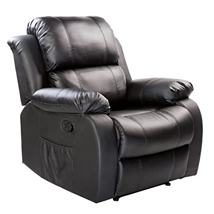 Merax Barwick PU Heated Massage Recliner Sofa Ergonomic Lounge With 8  Vibration Motors, (Black