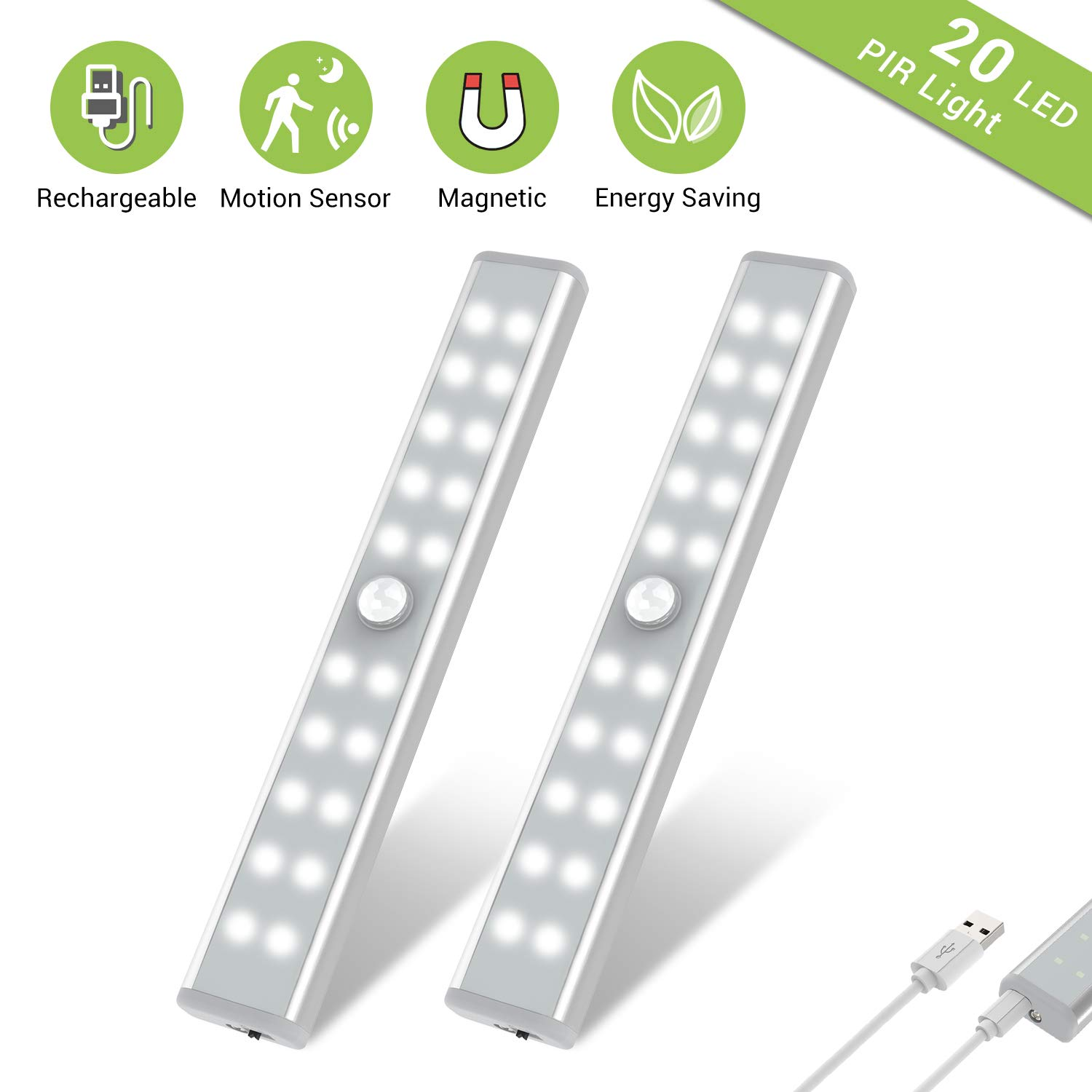 Wardrobe Light, OxyLED Motion Sensor Closet Lights, 20 LED Under Cabinet Lights, USB Rechargeable Stick-on Stairs Step Light Bar, LED Night Light, Safe Light with Magnetic Strip, 2-pack, T-02U by OxyLED