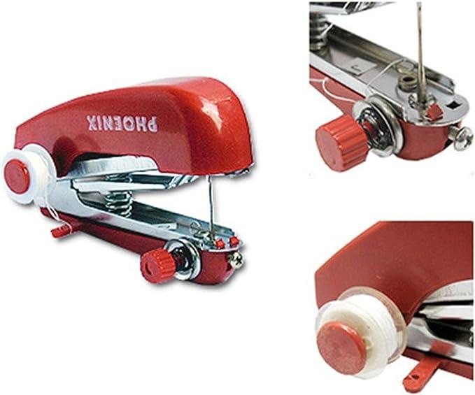 Telas de la ropa de la puntada de costura Máquina manual de su viaje o para el hogar portátil Mini Máquina de coser Handheld de Mano: Amazon.es: Hogar