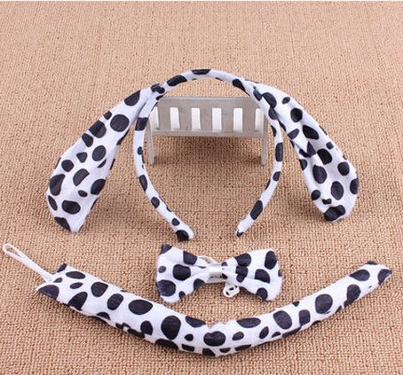 [Halloween Easter Day Party Show Festival Decoration Prop Decorative COS Ears Headband Animation Dress Gloves Tail Stuffed Suit Tie for Kids Children] (Dalmatian Ears)