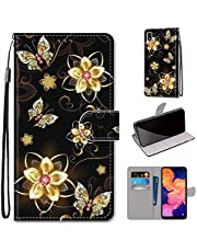 Miagon Full Body Case for Samsung Galaxy A10,Colorful Pattern Design PU Leather Flip Wallet Case Cover with Magnetic Closure Stand Card Slot,Diamond Butterfly