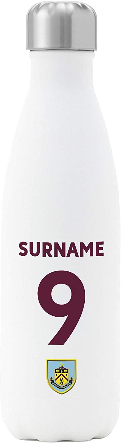 Personalised Football Gifts Burnley FC Back of Shirt Insulated Water Bottle White 500ml