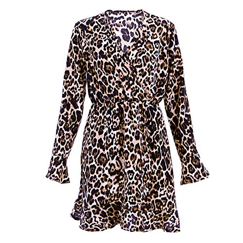 iLUGU Sexy Mini Dress for Women Long Sleeve V-Neck Leopard Printed Ruffled Hem Party Wrap Gown Brown