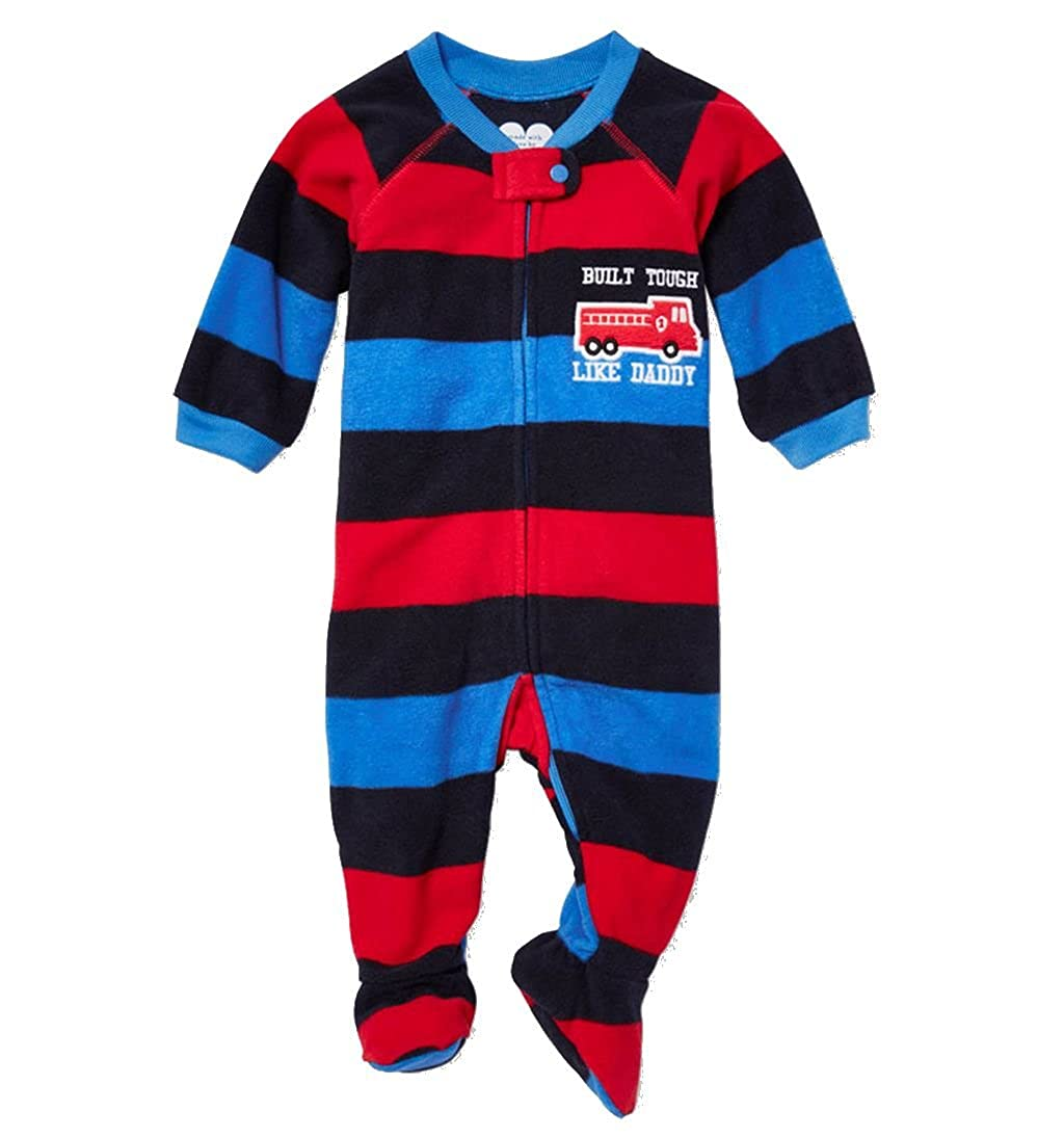 b575dbe38 Amazon.com  Toddler Boy s 3T Built Tough Like Daddy Firetruck Footed ...