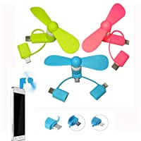 REYOK 3 Pack Mini Fan 3-in-1 USB Mini Fan Phone Portable Fan for iPhone and Android Type C Android Micro USB Phones