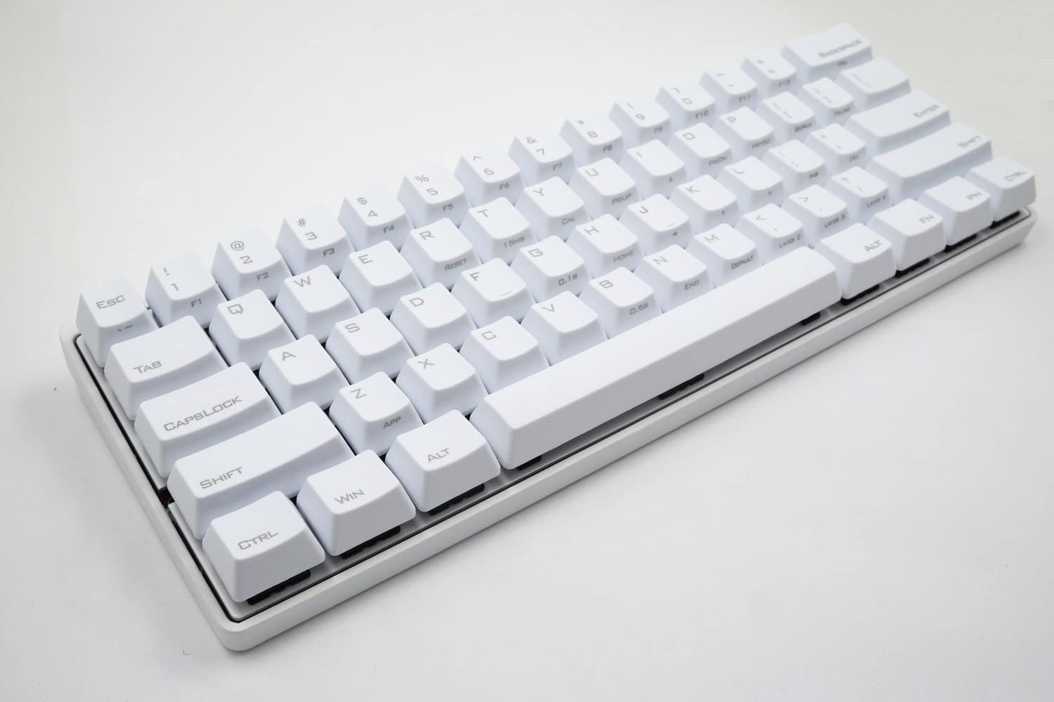 Vortexgear Pok3r 60% Ultra Compact Mechanical Gaming Keyboard - KBC Poker 3-61 Keys PBT Laser Etched Keycaps - PC/Mac/Linux - Programmable [Metal Casing] Clicky (Cherry Mx Blue, White)