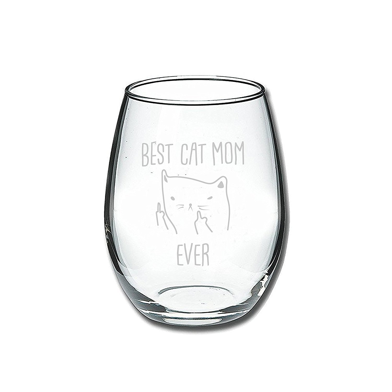 Best Cat Mom Ever Funny Wine Glass 15oz