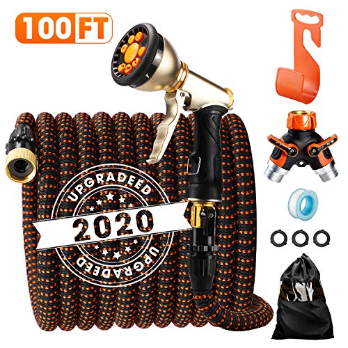 Delxo 2020 Upgrade100FT Expandable Garden Hose Water Hose with 9-Function High-Pressure Spray Nozzle, Heavy Duty Flexible Hose, 3/4″ Solid Brass Fittings Leakproof Design