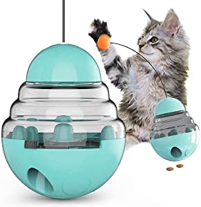 Cat Tumbler Toys, Cat Interactive Toy, Cat Puzzle Toy, Slow Feeder Toy, Cat Wand Teaser Toy, Funny Cat Stick Toy with Ball