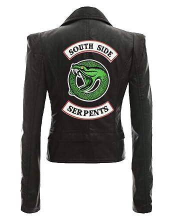 divers styles tout à fait stylé bon ajustement Riverdale Veste en Cuir Serpent Femme Cuir Vernis Pull Chic Pas Cher Ado  Fille Gilet Court Blouson Manteaux Sweat-Shirt