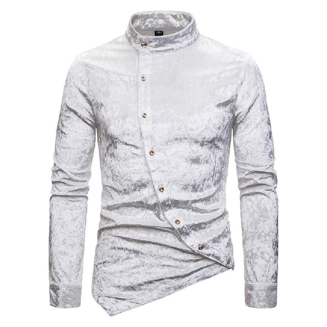 RingBong Mens Long-Sleeve Asymmetric Hem Hip Hop Velvet Nightclub Western Shirt