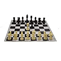 """Misty-Enterprises Best Value Tournament Chess Set 17""""x 17"""" Black Roll Up Vinyl Board, Plastic Pieces & Bag"""
