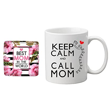 Buy Yaya Cafe Birthday Gifts For Mom Mother Keep Calm And Call Mom Coffee Mug For Mother Coaster Combo Set Of 2 Online At Low Prices In India Amazon In