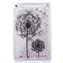 [Liquid Glitter] iPad Mini 4 Case - TIPFLY Crystal Clear Quicksand Bling Sparkle Diamonds Floating Flowing Hard PC Cover for Apple iPad Mini 4 - Black Dandelions