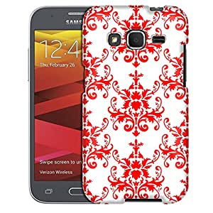Samsung Galaxy Prevail LTE Case, Slim Fit Snap On Cover by Trek Damask Pattern Red on White Case