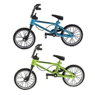 Baoblaze 2pcs Alloy Finger Mountain Bike, Mini Bicycle Model, Cool Boys Toy Decoration for Home - Blue & Green