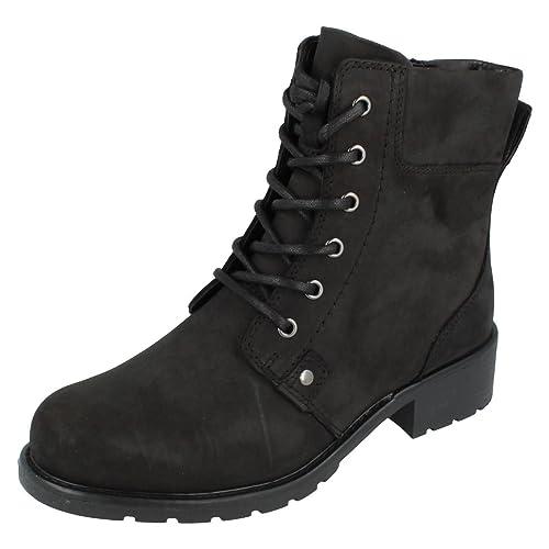 Clarks Orinoco Spice - Black Warmlined Leather Womens Boots 5 UK E