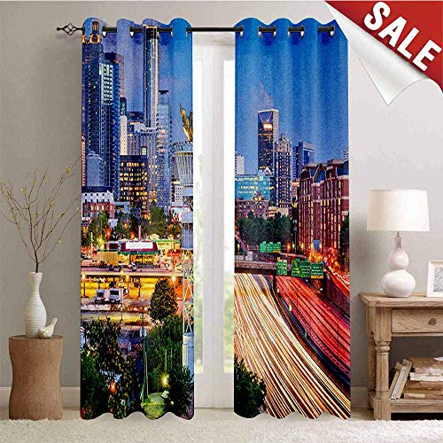 United States Gromets Curtain Decoration Separate Heating, Atlanta Georgia Urban Busy Town with Skyscrapers City Landscape Party Darkening Curtains, Pale Blue Yellow Coral, W96 x L72 Inches -