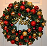 Christmas Wreath, Red and Gold Ornament Wreath, Large Evergreen Wreath, Noel Wreath
